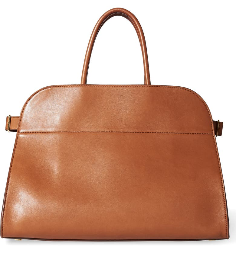 THE ROW Margaux 15 Leather Bag, Main, color, SADDLE BROWN