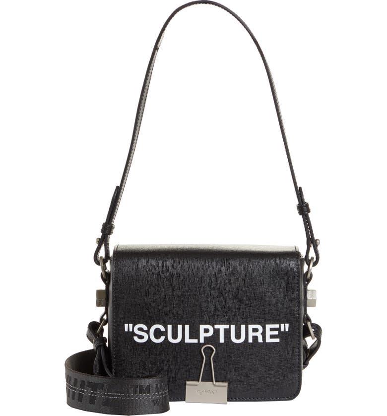 d137656d5ff4 Sculpture Leather Flap Bag, Main, color, BLACK WHITE