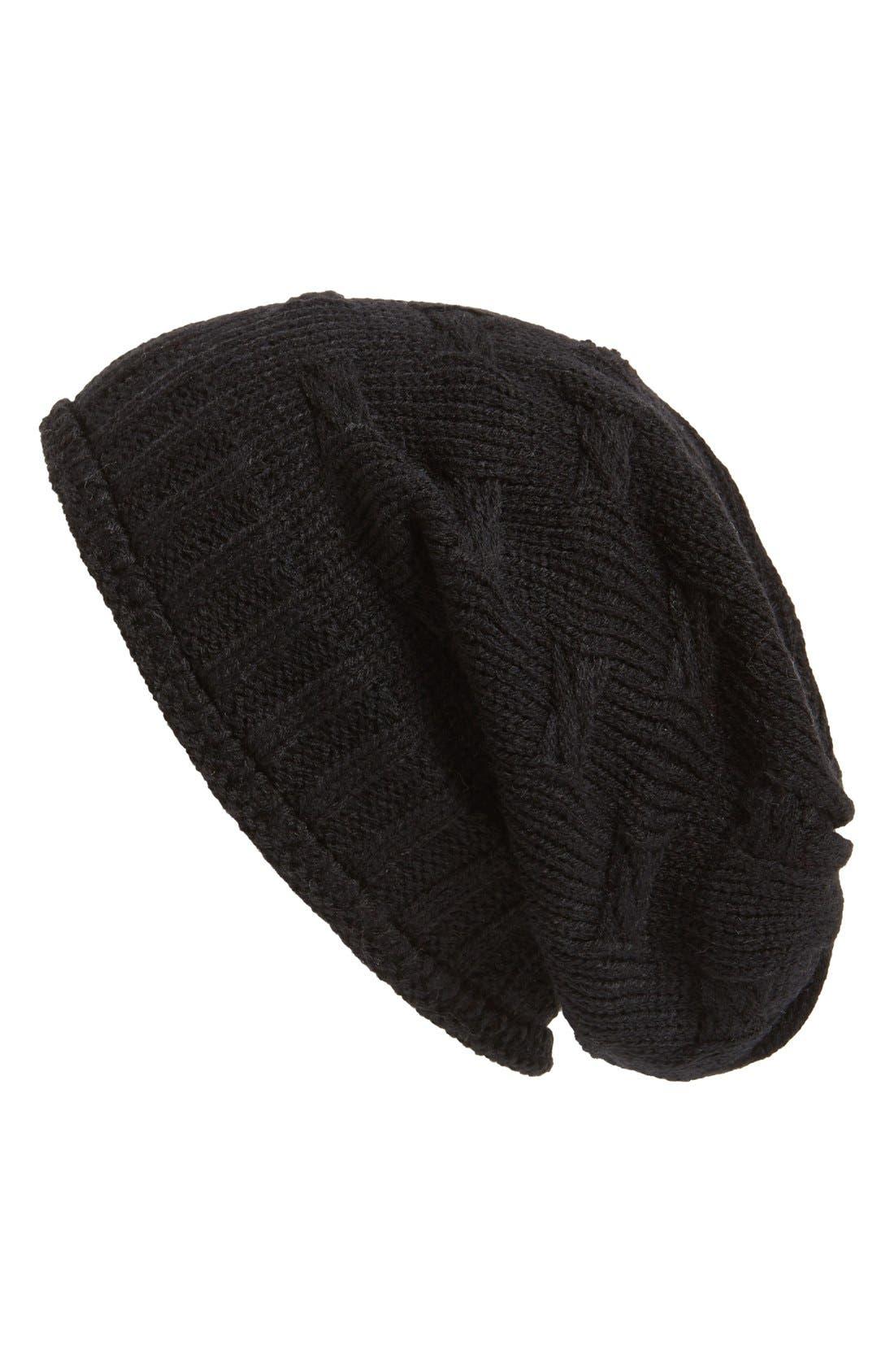 ,                             Braid Knit Beanie,                             Main thumbnail 1, color,                             001