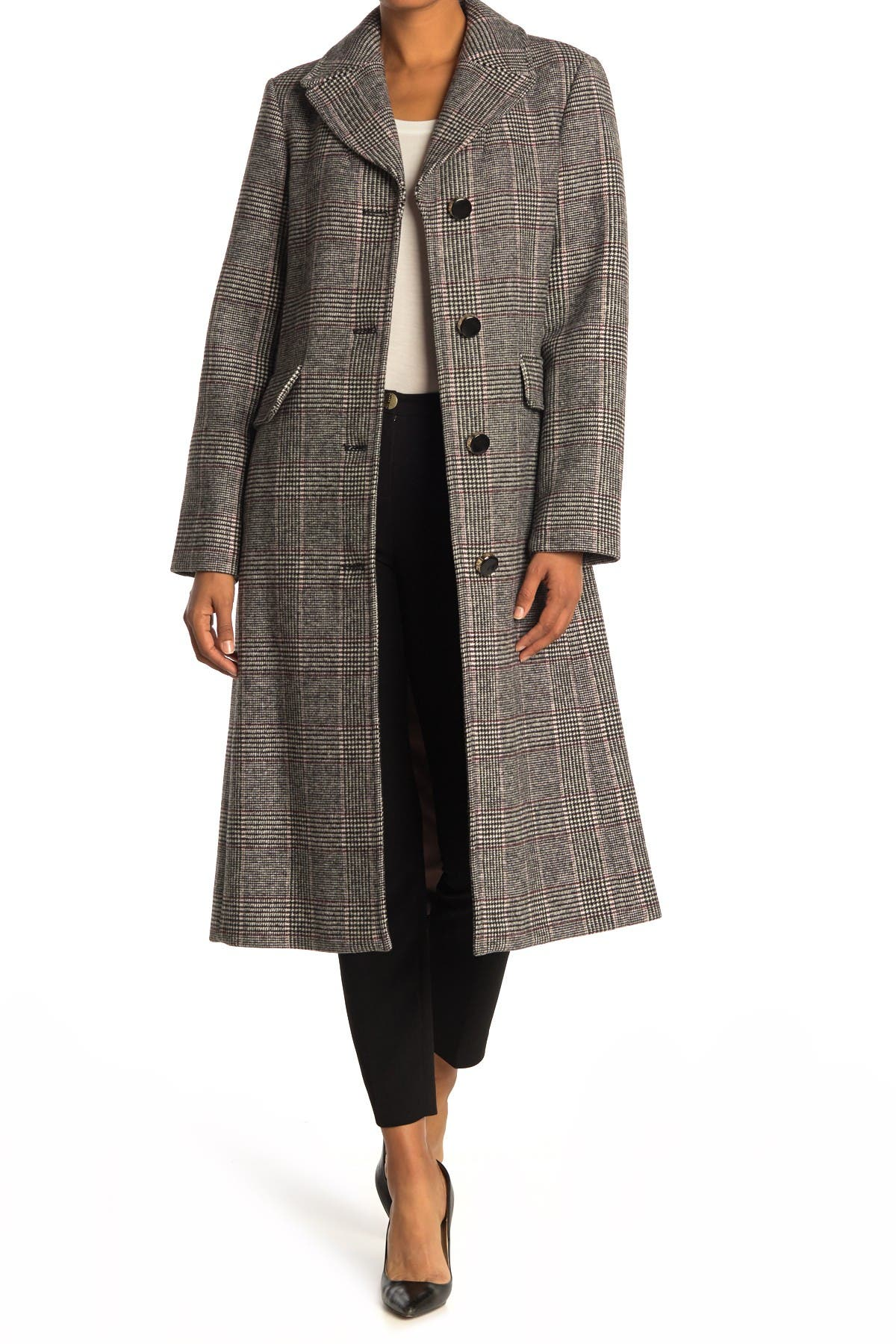 Image of kate spade new york plaid belted a-line coat