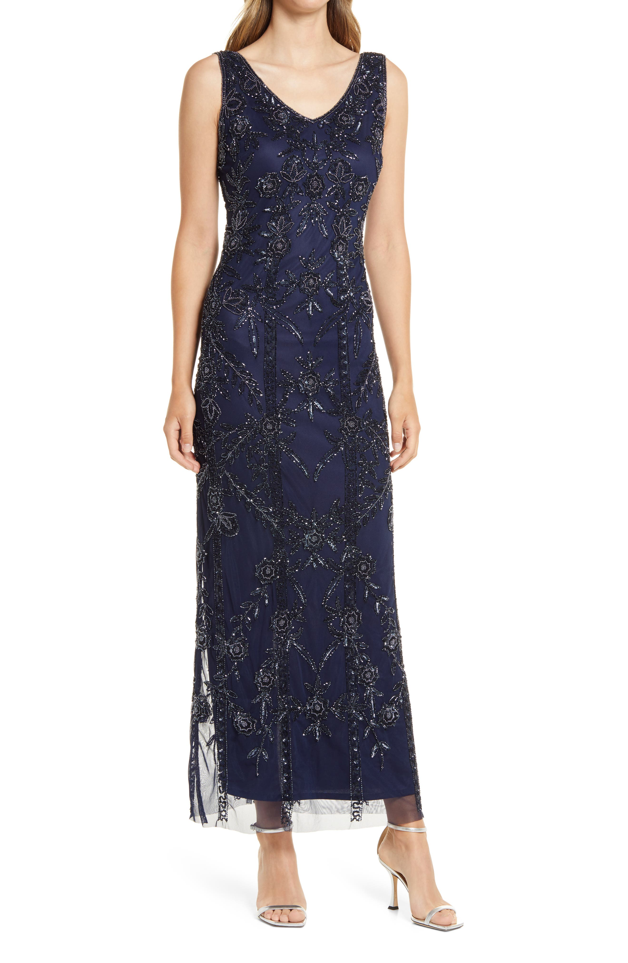 Great Gatsby Dress – Great Gatsby Dresses for Sale Womens Pisarro Nights Beaded Mesh Gown Size 2 - Blue $238.00 AT vintagedancer.com
