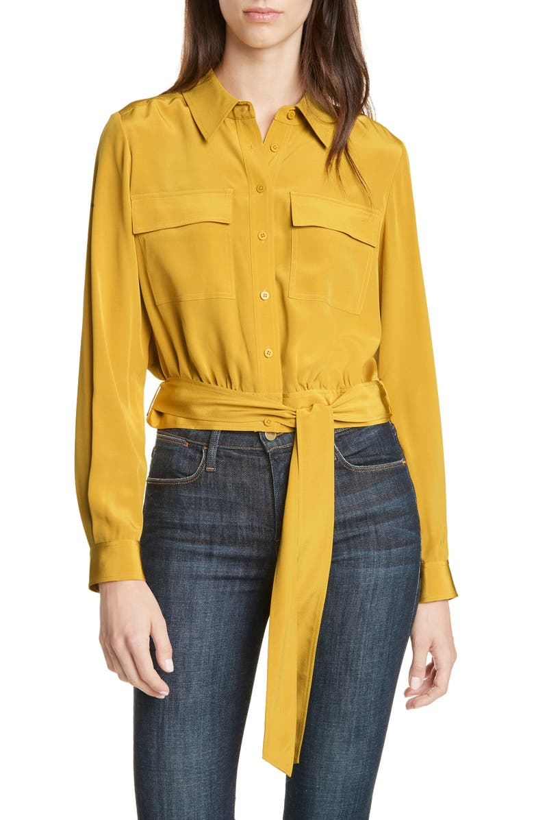 DVF Everlynn Crop Silk Blouse, Main, color, COUCH