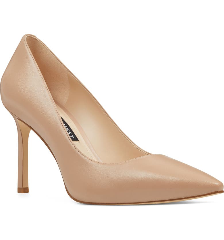 NINE WEST Emmala Pointy Toe Pump, Main, color, BARELY NUDE LEATHER