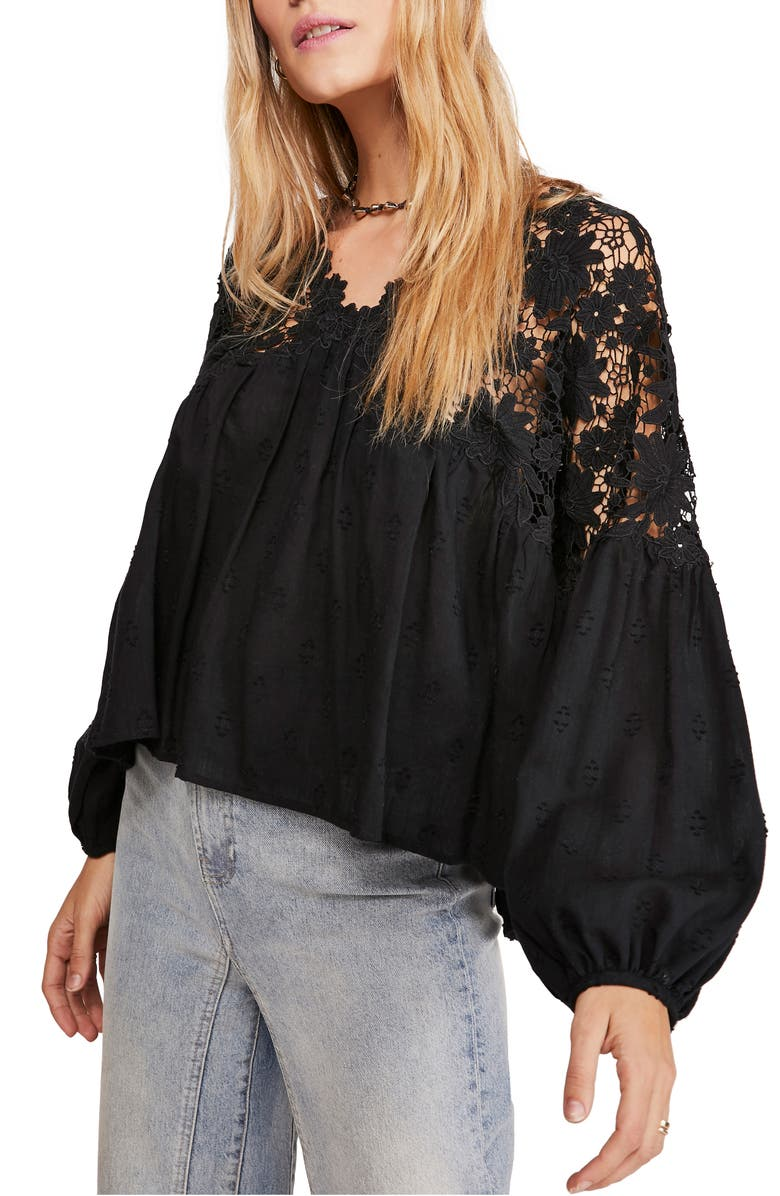 FREE PEOPLE Lina Embroidered Lace Blouse, Main, color, BLACK