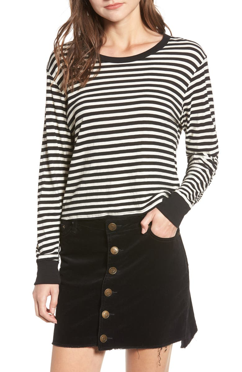 AMUSE SOCIETY Honey Stripe Cotton Crop Top, Main, color, 100