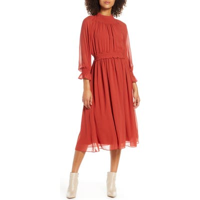 Chelsea28 Smocked Neck Long Sleeve Chiffon Midi Dress, Red