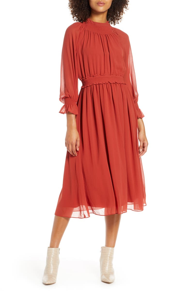 CHELSEA28 Smocked Neck Long Sleeve Chiffon Midi Dress, Main, color, BRICK