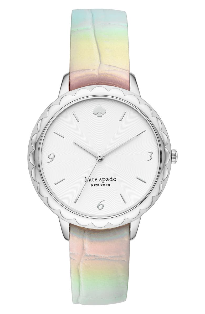 KATE SPADE NEW YORK morningside leather strap watch, 38mm, Main, color, 100