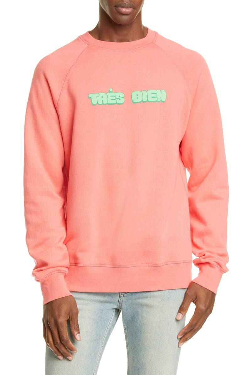 TRÈS BIEN Souvenir Chubby Logo Sweatshirt, Main, color, CORAL