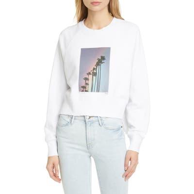 Frame Rainbow Palm Cotton Sweatshirt, White