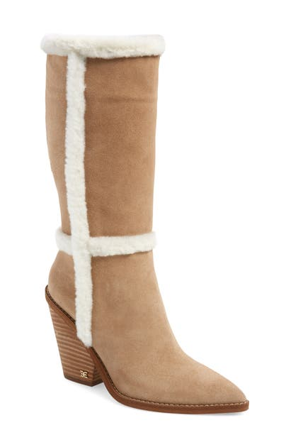 Sam Edelman Boots ILSA FAUX FUR TRIM BLOCK HEEL BOOT