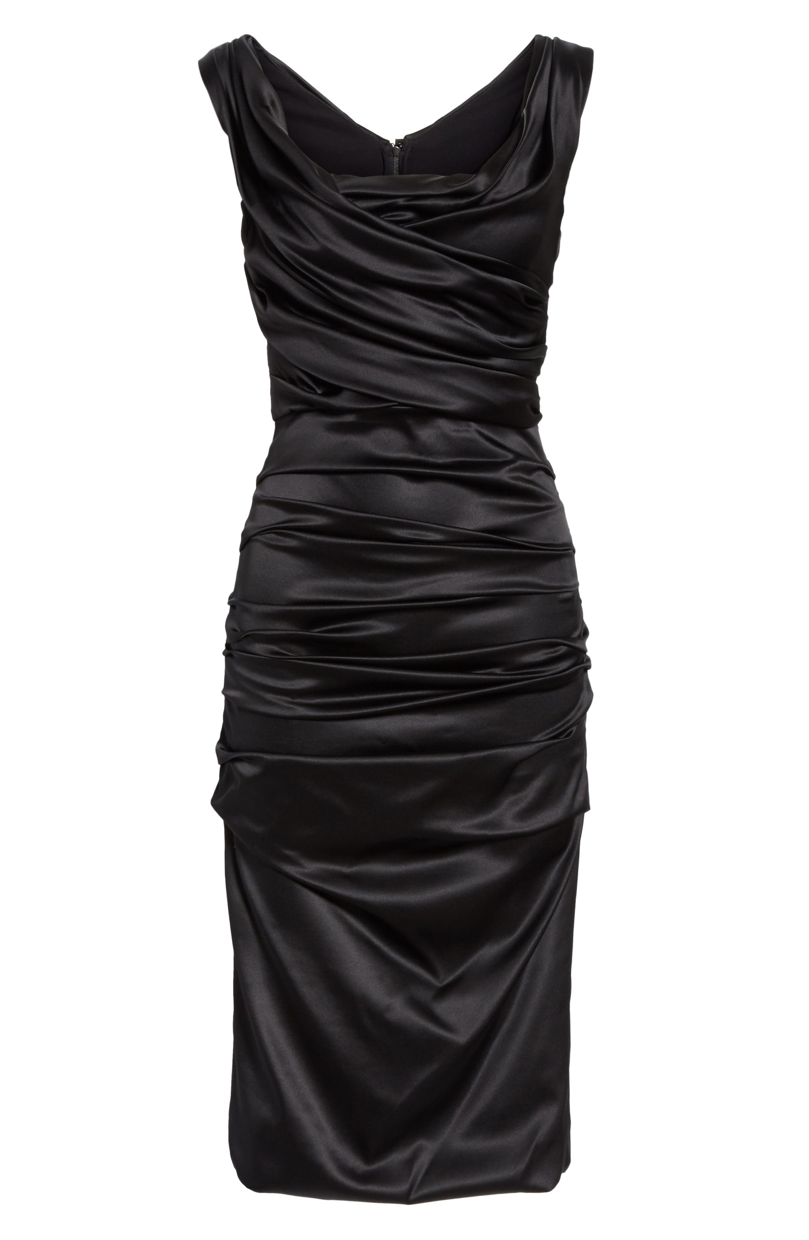 ,                             Ruched Stretch Silk Satin Body-Con Dress,                             Alternate thumbnail 6, color,                             BLACK