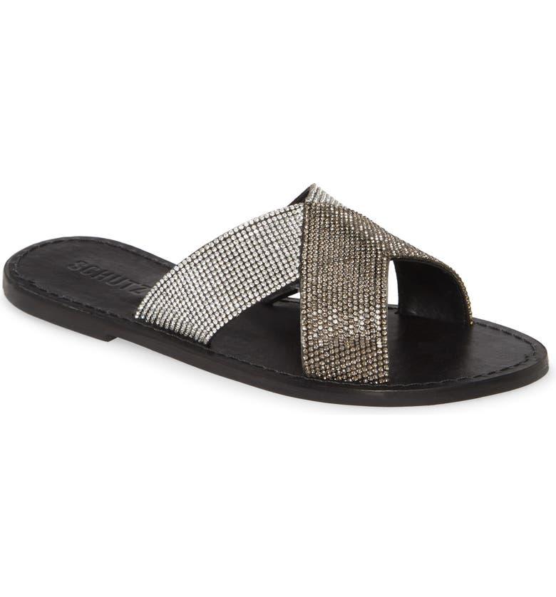 SCHUTZ Amariles Crystal Embellished Slide Sandal, Main, color, 001