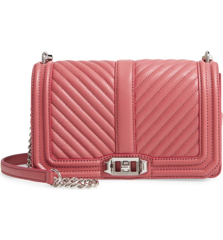 REBECCA MINKOFF 'Chevron Quilted Love' Crossbody Bag, Main, color, FIG