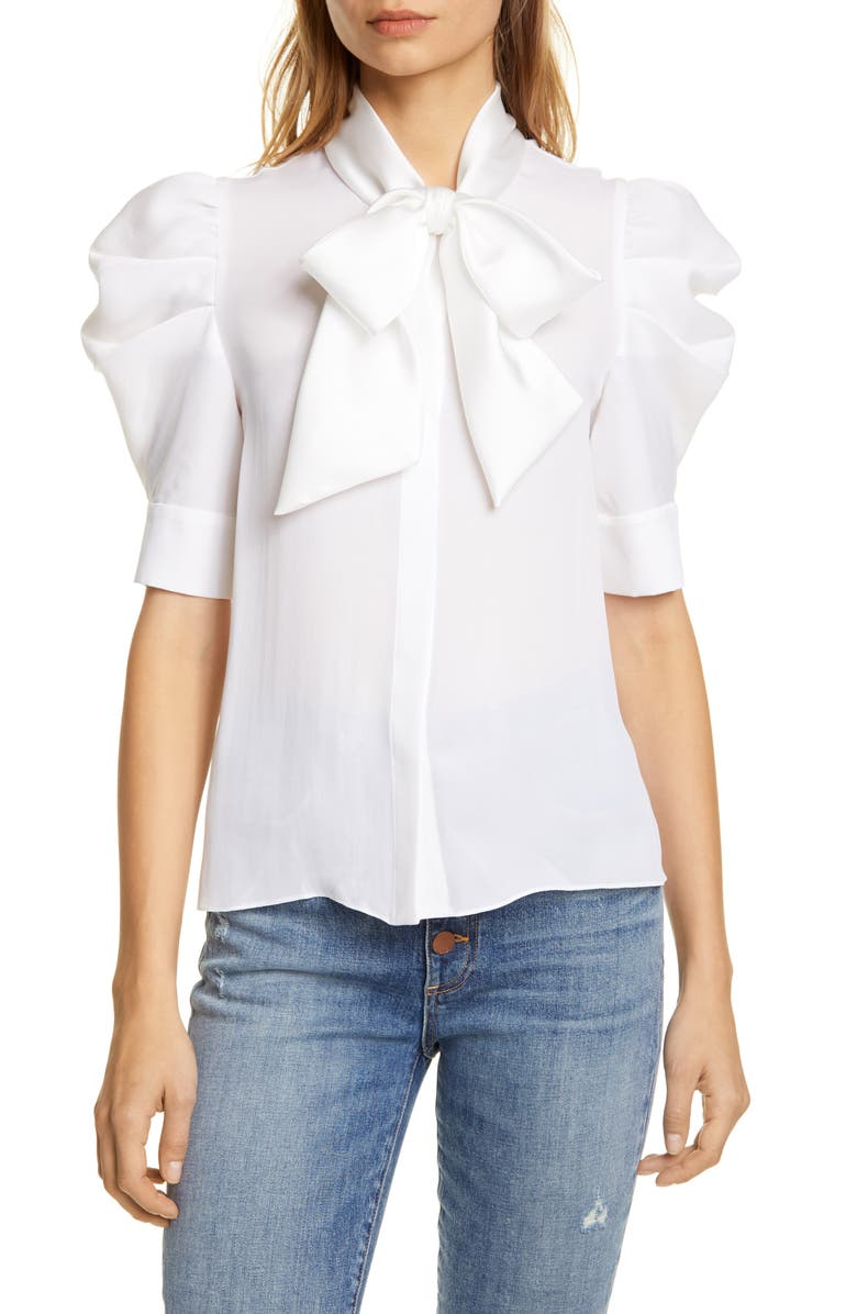 ALICE + OLIVIA Maylee Tie Neck Blouse, Main, color, OFF WHITE