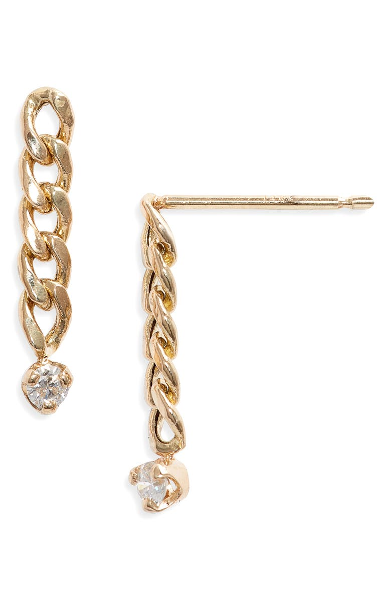 ZOË CHICCO Small Curb Chain Earrings, Main, color, YELLOW GOLD/ DIAMOND