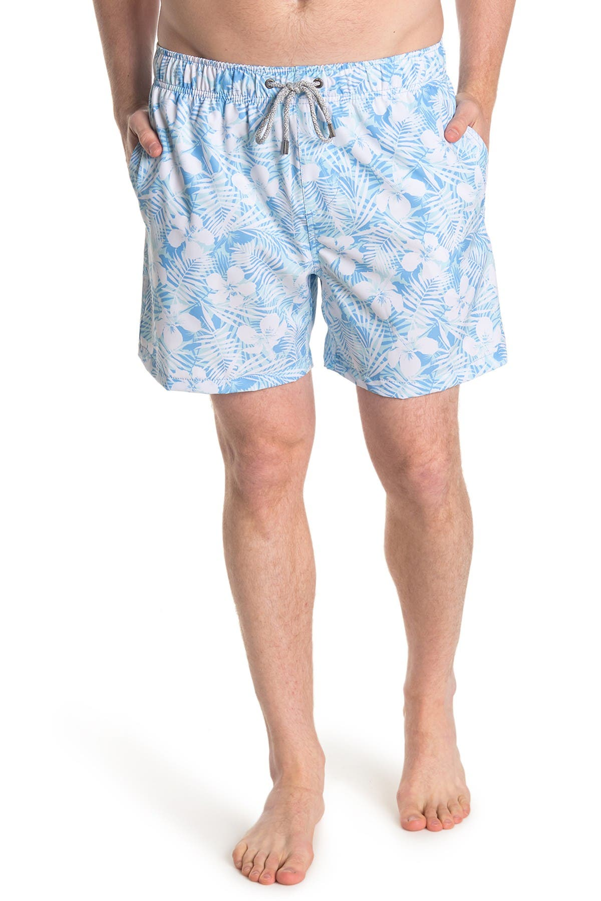 Image of Vintage Summer Tropical Print Swimming Trunks