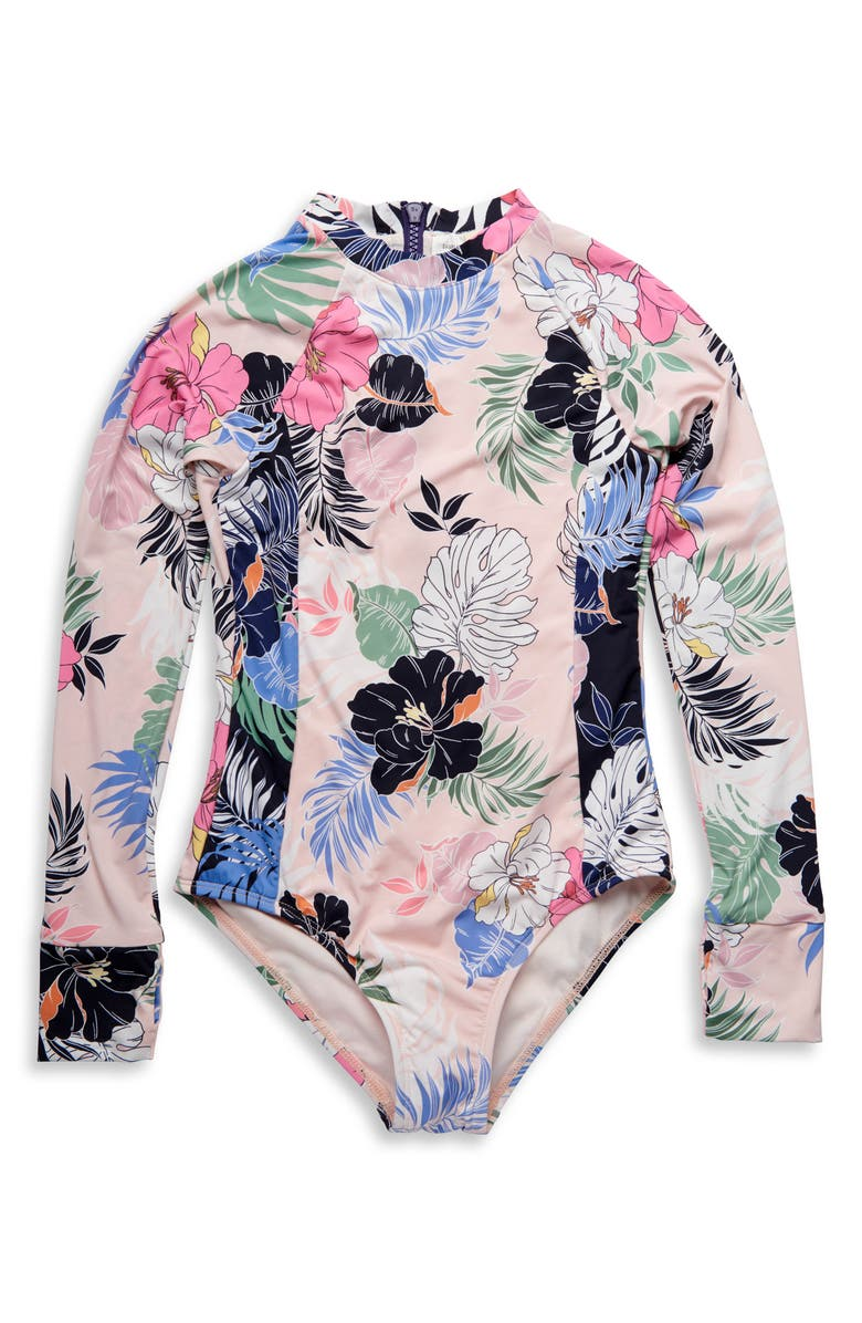 HOBIE Hawaiian Tropic One-Piece Rashguard Swimsuit, Main, color, 400
