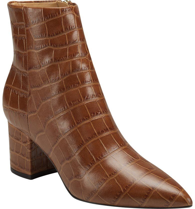 MARC FISHER LTD Jarli Bootie, Main, color, MEDIUM BROWN CROCO LEATHER
