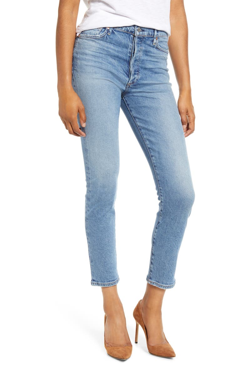 CITIZENS OF HUMANITY Olivia High Waist Slim Ankle Jeans, Main, color, CHIT CHAT