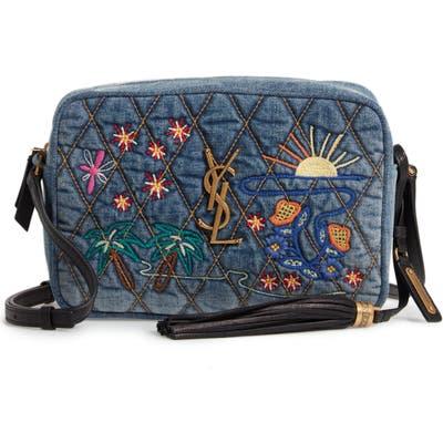 Saint Laurent Lou Embroidered Denim Camera Bag -