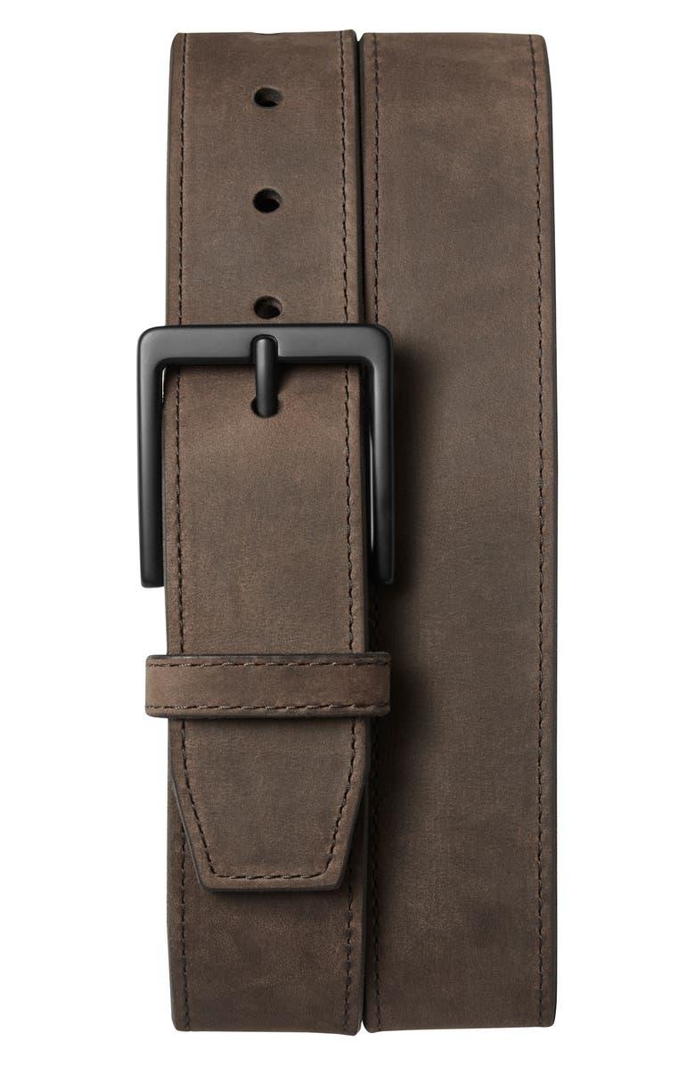 SHINOLA Utility Nubuck Leather Belt, Main, color, DARK BROWN