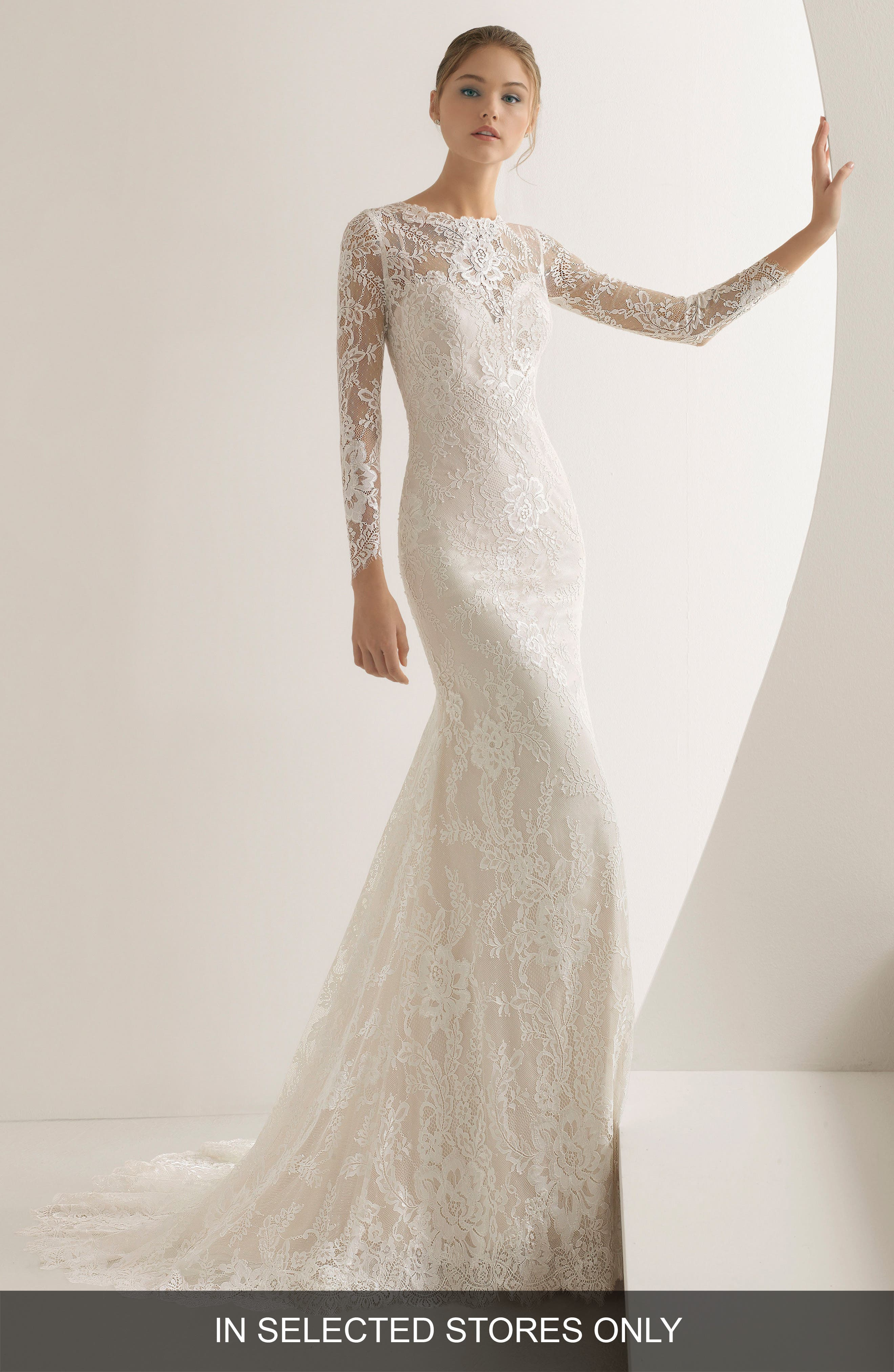 Adalia Lace Mermaid Gown, Main, color, NUDE