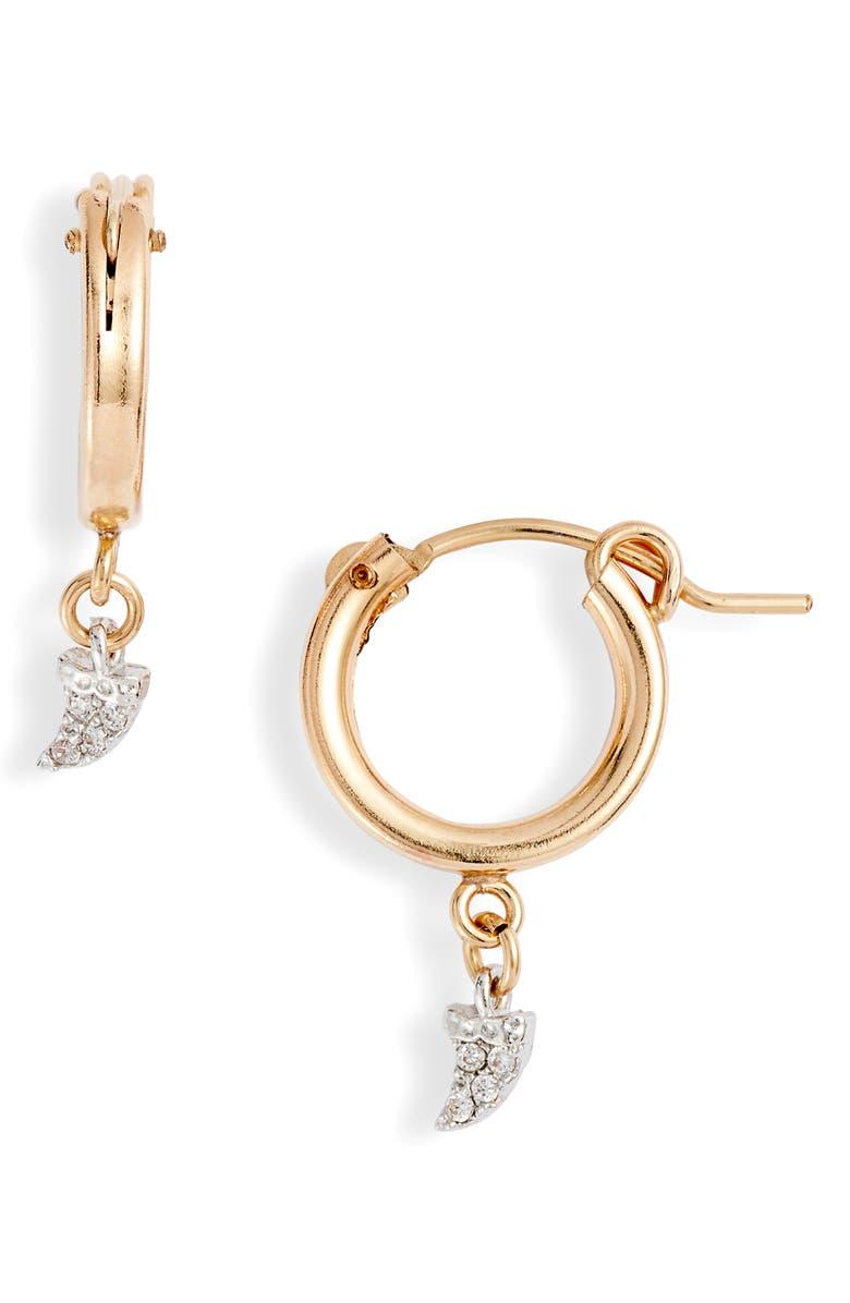 MARIDA Horn Hoop Huggie Earrings, Main, color, GOLD