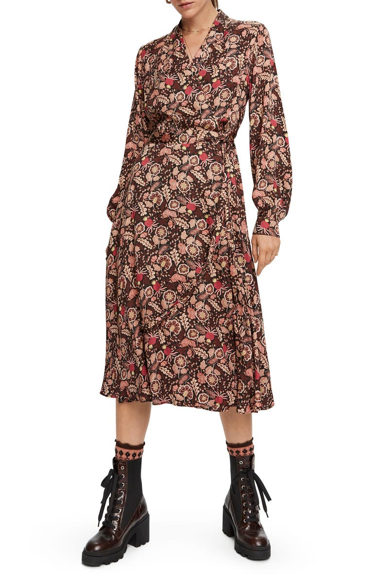 SCOTCH & SODA Floral Long Sleeve Wrap Midi Dress, Main, color, COMBO A