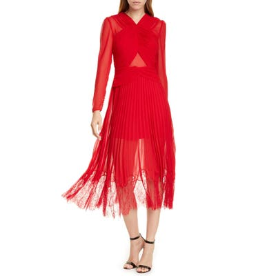 Self-Portrait Pleated Chiffon & Lace Long Sleeve Midi Dress, Red