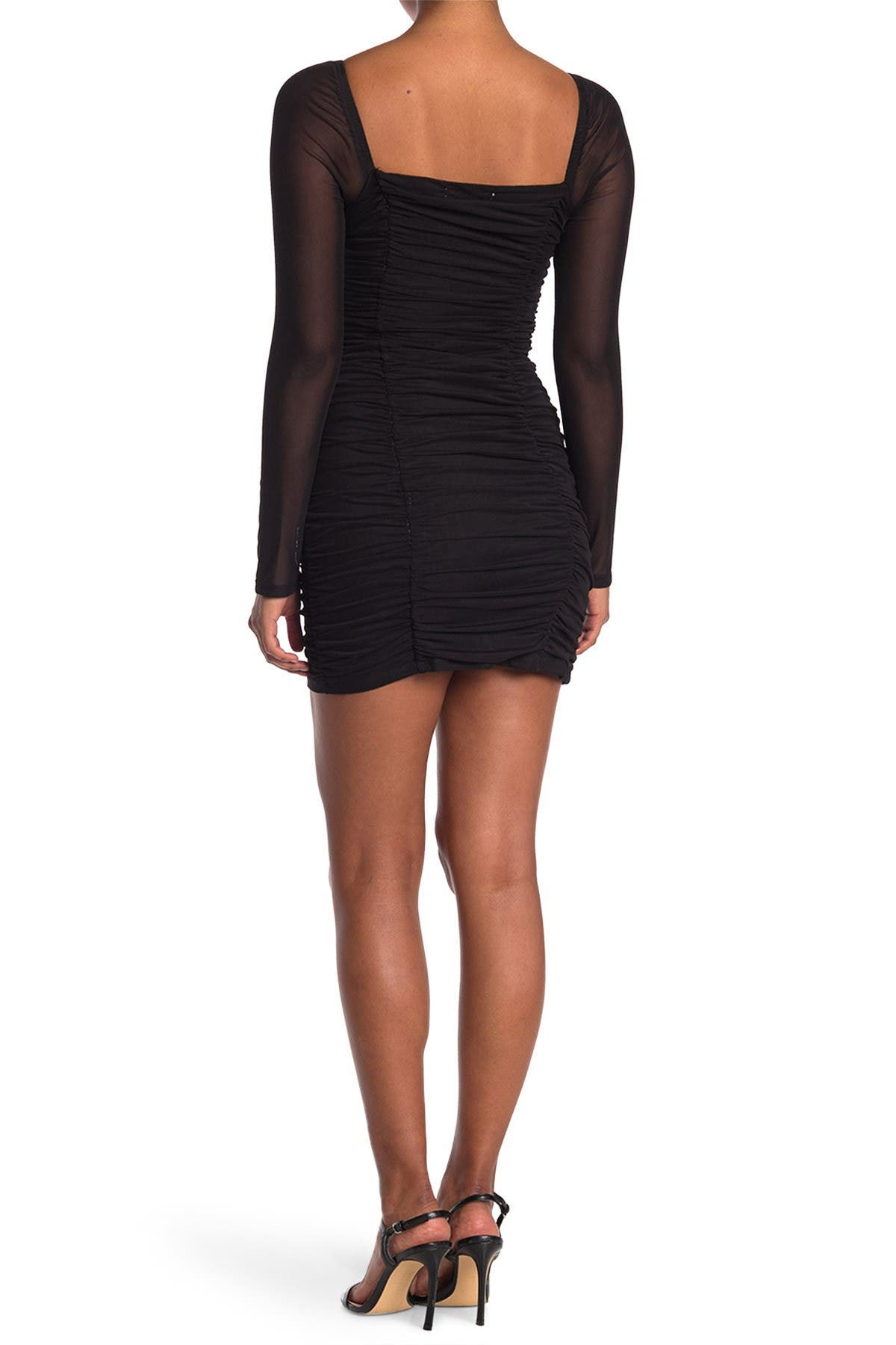 14TH PLACE Ruched Square Neck Mini Dress