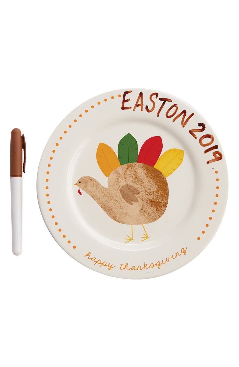 MUD PIE Thanksgiving Handprint Plate Kit, Main, color, WHITE