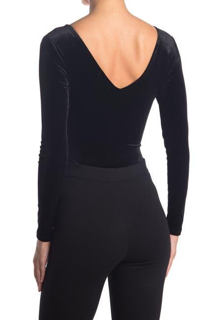 Image of Socialite Velvet V-Neck Bodysuit