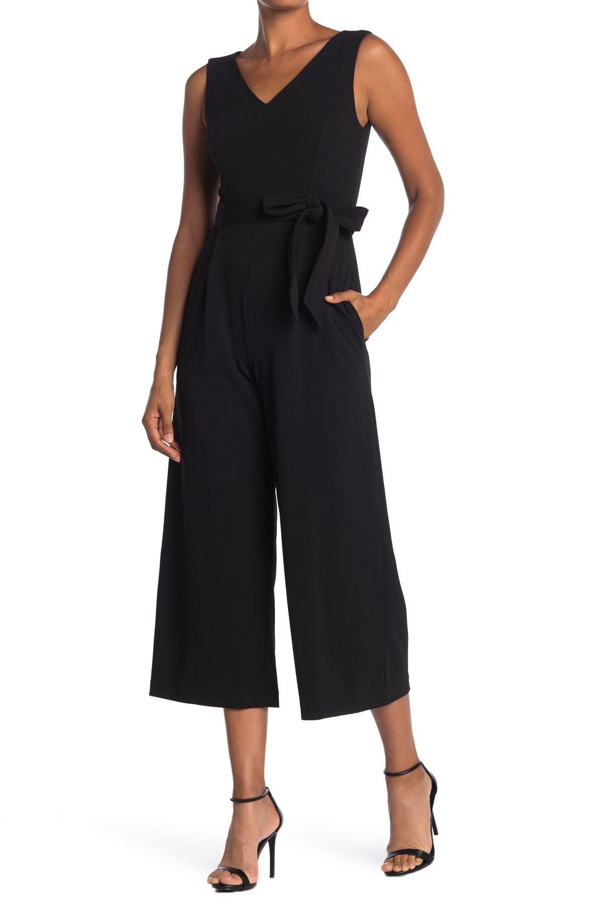 Image of Calvin Klein V-Neck Sleeveless Wide Leg Jumpsuit