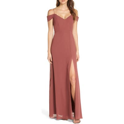 Jenny Yoo Priya Cold Shoulder Chiffon Evening Dress, Red