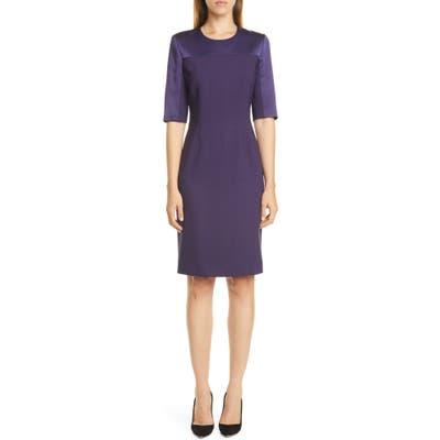 Petite Boss Danufa Stretch Wool Sheath Dress, P - Purple