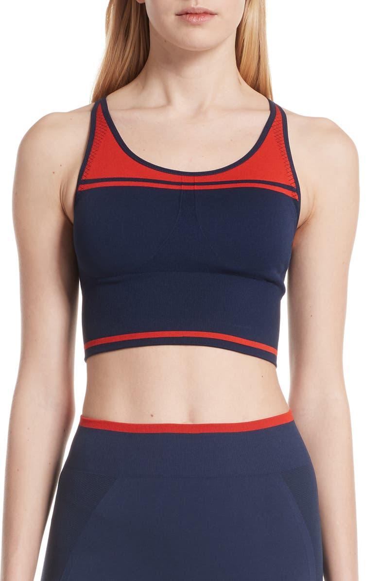 TORY SPORT Two-Tone Seamless Camisole Long Bra, Main, color, TORY NAVY/ RED