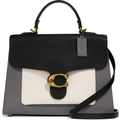 Coach Tabby Colorblock Leather Top Handle Bag - White