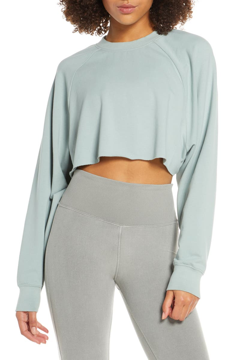 ALO Double Take Crop Sweatshirt, Main, color, LAUREL