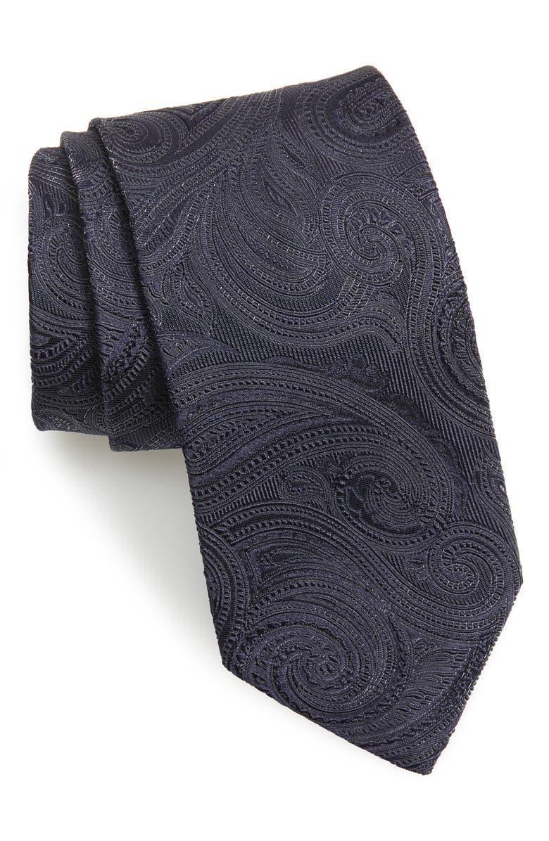 ETON Paisley Silk Blend Tie, Main, color, BLUE