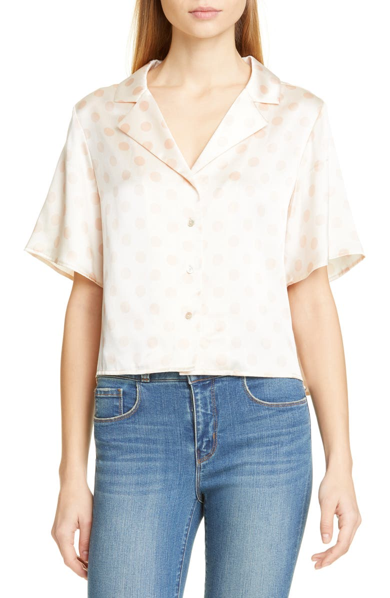 L'AGENCE Theo Polka Dot Crop Silk Blouse, Main, color, 250
