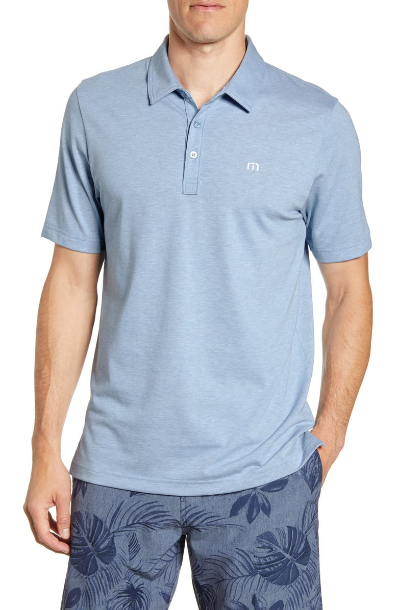 TRAVISMATHEW The Zinna Regular Fit Performance Polo, Main, color, HEATHER LIGHT BLUE