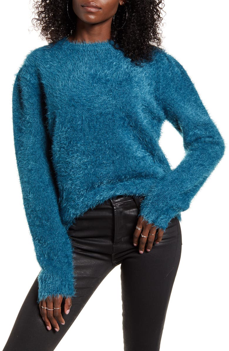 ENDLESS ROSE Feathered Knit Sweater, Main, color, BLUE