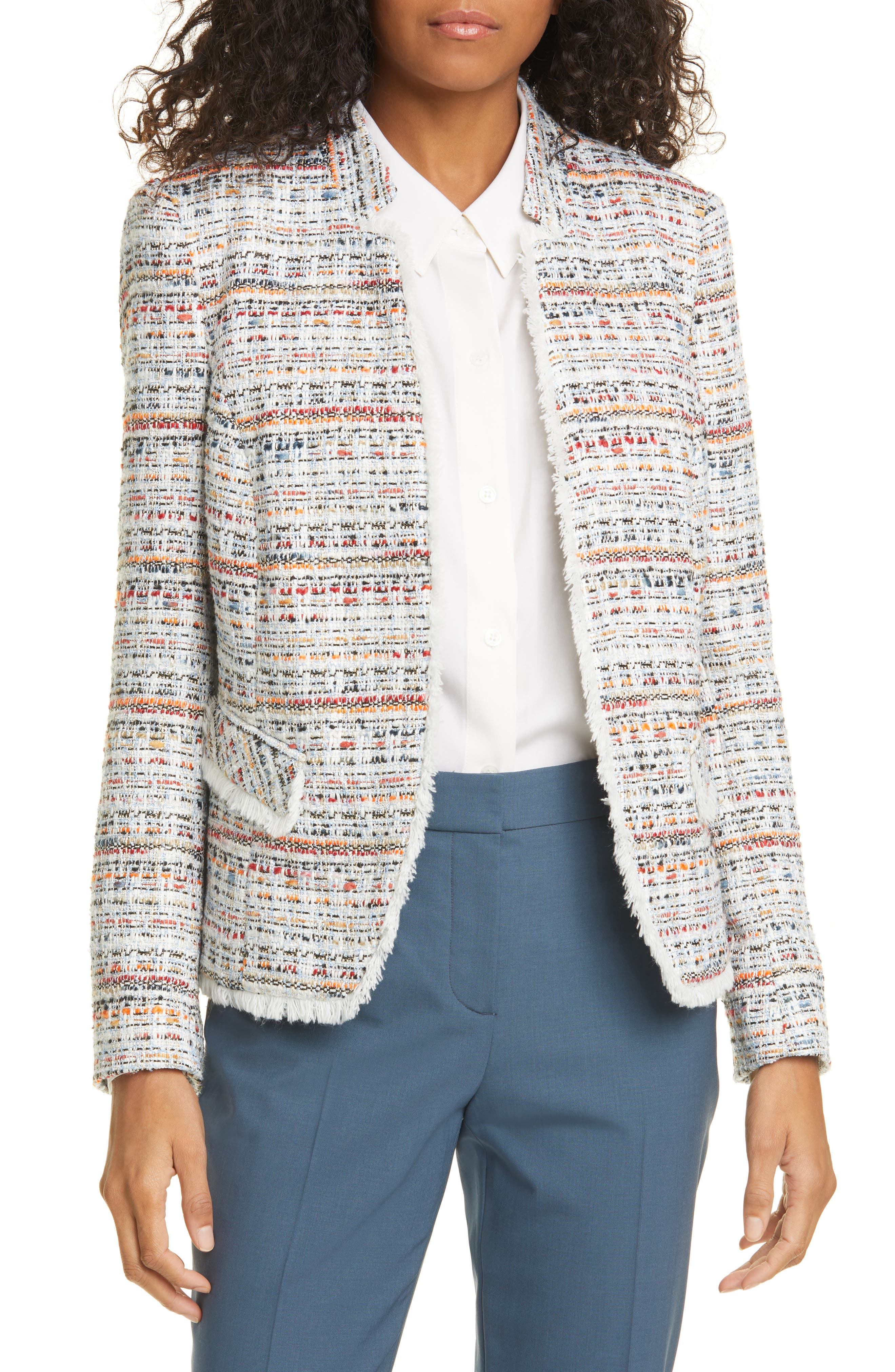 Image of Helene Berman Notch Collar Tweed Jacket