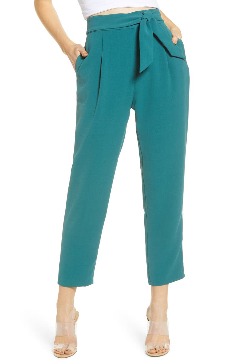LEITH Tie Front Pants, Main, color, TEAL CYRUS