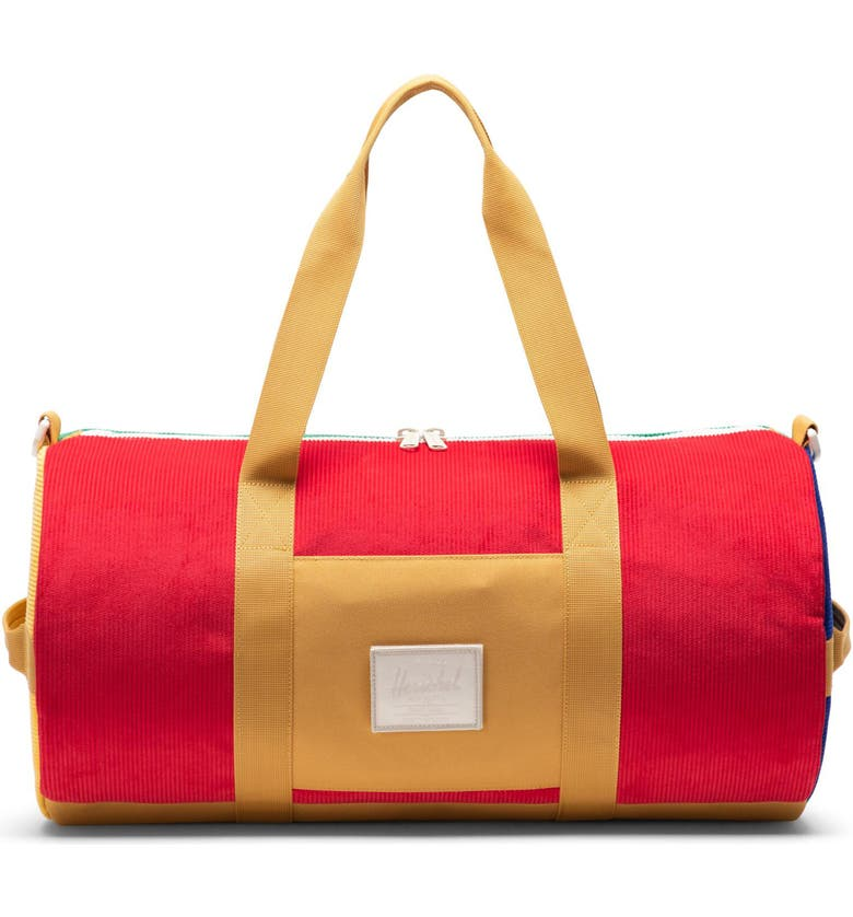 HERSCHEL SUPPLY CO. Sutton Colorblock Mid-Volume Duffle Bag, Main, color, RED/ GREEN/ YELLOW/ GOLD