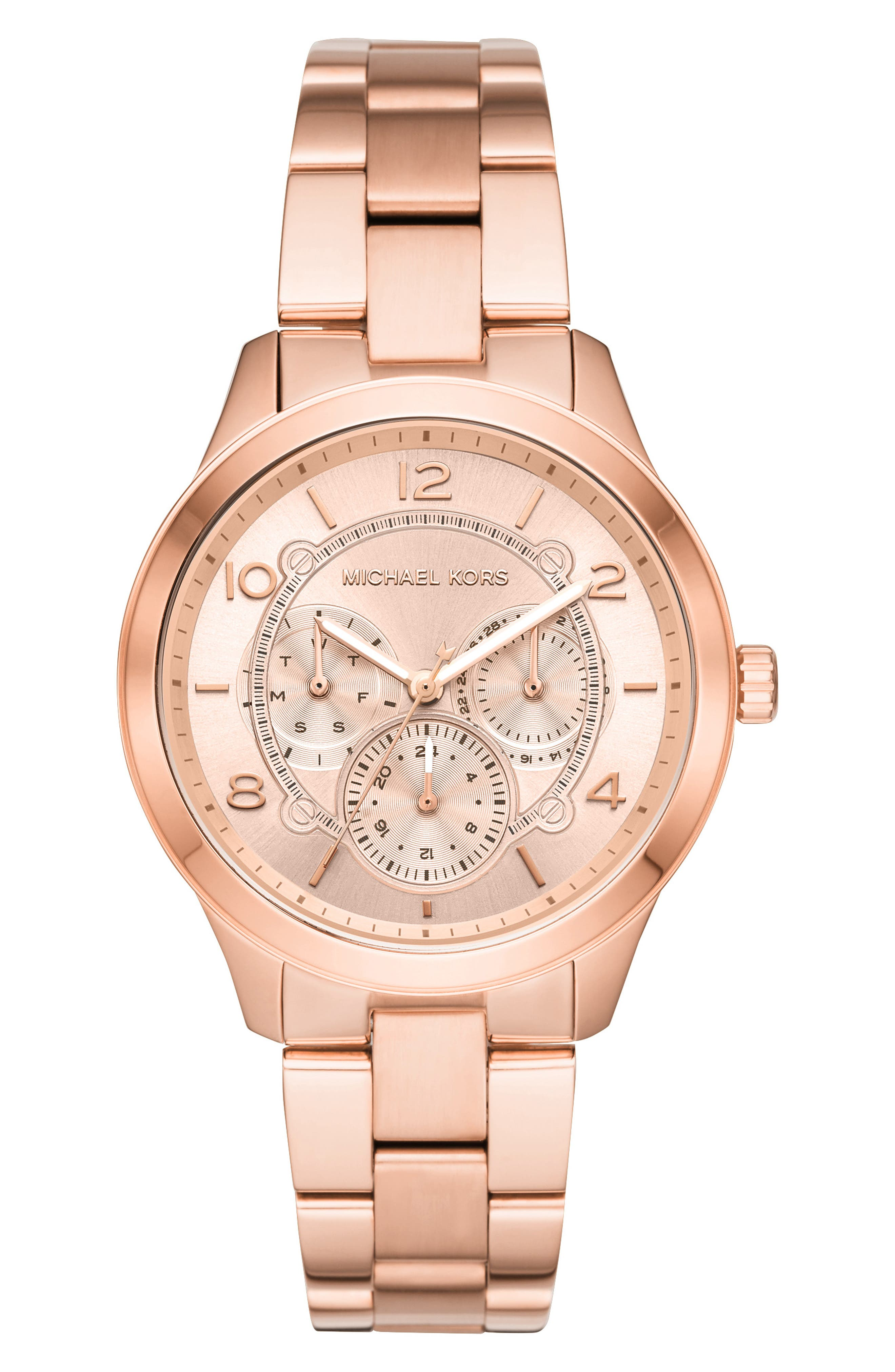 Runway Multifunction Bracelet Watch, 38mm, Main, color, ROSE GOLD