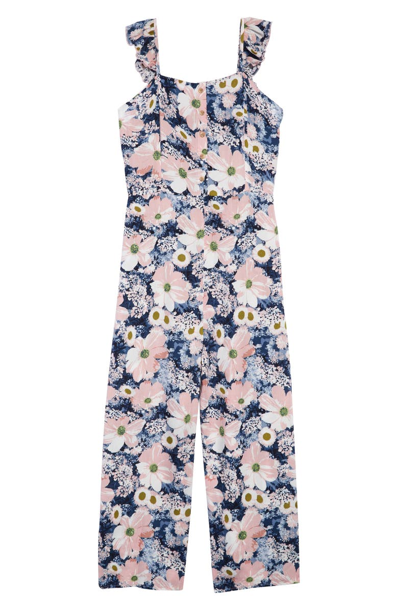 TEN SIXTY SHERMAN Flutter Sleeve Jumpsuit, Main, color, NAVY FLORAL