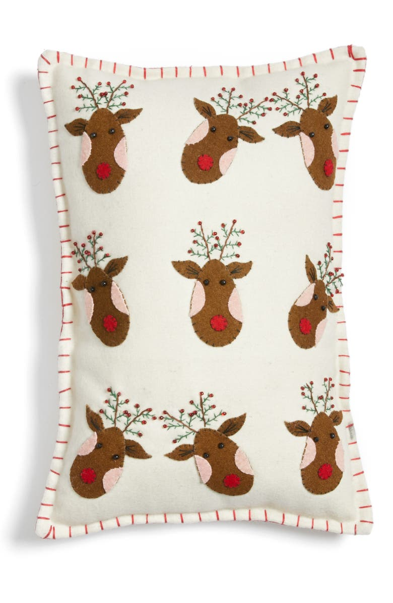 NEW WORLD ARTS Reindeer Accent Pillow, Main, color, WHITE