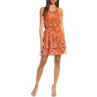 Chelsea28 Tiered Chiffon Fit & Flare Dress, Orange